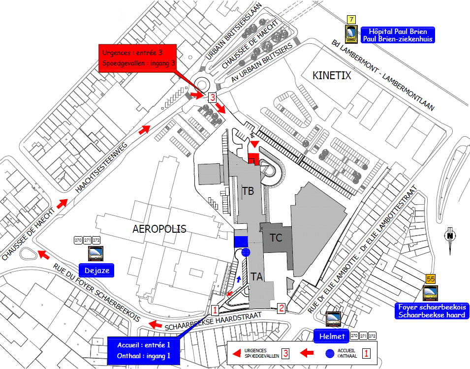 Paul Brien site access and map CHU Brugmann UVC